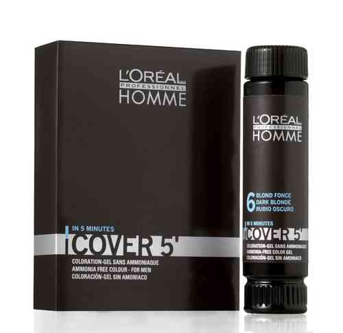3 x Loreal Homme Cover 5 mittelblond  50ml = 150ml Colorationsgel Nuance 7